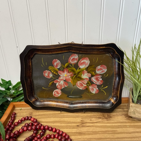 VINTAGE HAND PAINTED FLORAL TRAY WALL ART